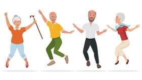 Groep bejaarde mensen samen Het actieve en gelukkige oude hogere springen De vectorillustratie van het beeldverhaal Stock Fotografie