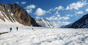 Groep bergbeklimmers op de gletsjer Stock Afbeeldingen