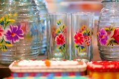 Groep Bloemen Geschilderd Mexicaans Glaswerk Stock Fotografie