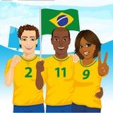 Groep Braziliaanse verdedigers die hun nationaal de voetbalteam toejuichen van Brazilië royalty-vrije illustratie