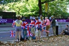 Groep Britse ventilators die voor athlets wachten op Stock Foto's