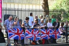 Groep Britse ventilators die voor athlets wachten op Stock Afbeelding