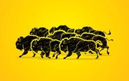 Groep buffels het lopen royalty-vrije illustratie