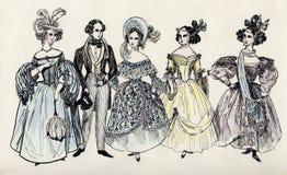 Groep buitensporige man en vrouwen 18 eeuw. Stock Afbeelding
