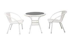 Groep bureau van de tuin het witte tuin en stoelen geïsoleerde backgrou Royalty-vrije Stock Afbeelding