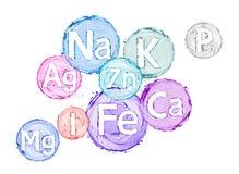 Groep chemische mineralen en micro-elementen Royalty-vrije Stock Fotografie