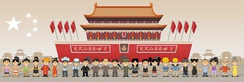 Groep Chinese mensen voor Verboden stad in Peking, China stock illustratie