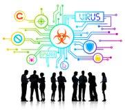 Groep Collectieve Mensen die een Bespreking over Netwerk Secu hebben Stock Foto's