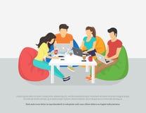 Groep creatieve mensen die laptop zitting in de ruimte gebruiken royalty-vrije illustratie