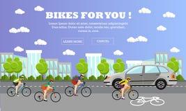 Groep cyclusruiters op fietsen Straat met fietslijn Vectorillustratie in vlak stijlontwerp stock illustratie
