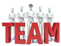 Groep 3d mensen die zich naast het woordteam bevinden Stock Afbeelding