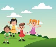 Groep de gelukkige jonge geitjes van het meisjesbeeldverhaal Royalty-vrije Stock Fotografie