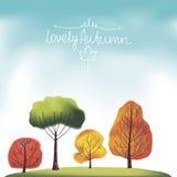Groep de herfstbomen Stock Afbeelding