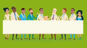 Groep de Middelbanner van Artsenteam clinic stuff hospital hold vector illustratie