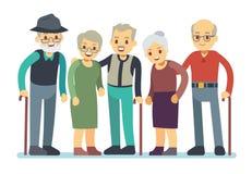 Groep de oude karakters van het mensenbeeldverhaal Gelukkige bejaarde vrienden vectorillustratie Royalty-vrije Stock Afbeelding