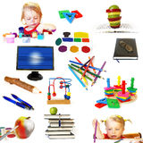 Groep de voorwerpen van het onderwijsthema Stock Afbeeldingen
