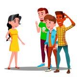 Groep die Jonge Kerels na een Mooie Meisjesvector letten op Geïsoleerdeo illustratie vector illustratie