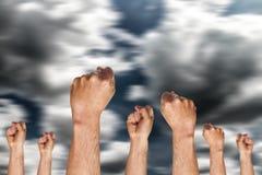 Groep die menselijke hand vuist tonen Royalty-vrije Stock Foto's