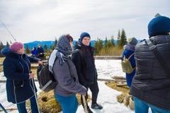Groep die mensen in bergen in vroege de lente het bewonderen mening wandelen stock foto's