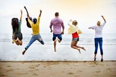 Groep die Mensen Concept springen royalty-vrije stock foto's