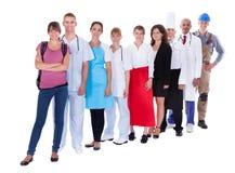 Groep die mensen diverse beroepen vertegenwoordigen Stock Afbeelding