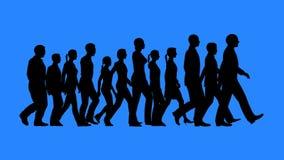 Groep die mensen silhouetten lopen royalty-vrije stock afbeelding
