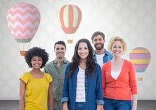 Groep die mensen zich voor hete luchtballons bevinden vector illustratie