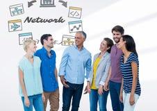 Groep die mensen zich voor Netwerkgrafiek bevinden vector illustratie
