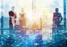Groep die partner de toekomst met netwerk digitaal effect zoeken stock afbeeldingen