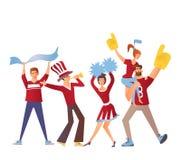Groep die sportventilators met attributen voor het team toejuichen Vlakke vectorillustratie op een witte achtergrond Geïsoleerde vector illustratie