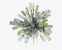 Groep die USB-kabels een gebied in groen licht vormen Royalty-vrije Stock Foto's