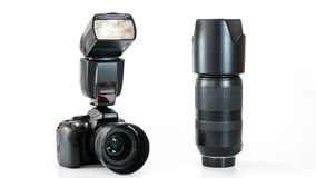 Groep digitale camera met lens en flits Stock Foto