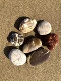 Groep diverse overzeese stenen op zand Mening van hierboven, achtergrond stock afbeelding