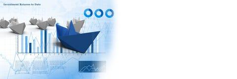 Groep Document boten op grafiekstatistieken Royalty-vrije Stock Foto