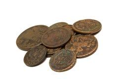 Groep eeuwenoude muntstukken stock afbeelding