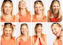 Groep emotionele portretten van een jonge vrouw stock fotografie