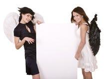 Groep engel met banner. stock foto