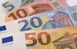 Groep euro bankbiljetten Stock Foto