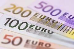 Groep euro bankbiljetten Stock Afbeeldingen