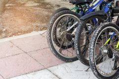 Groep fietsen Levensstijlen en Vrije tijdsconcept Vervoer en in openlucht thema royalty-vrije stock fotografie