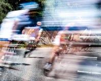 Groep fietsers in een ras Stock Foto