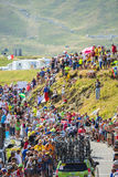 Groep Fietsers op Col. du Glandon - Ronde van Frankrijk 2015 royalty-vrije stock foto's
