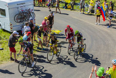 Groep Fietsers op Col. du Grand Colombier - Ronde van Frankrijk 201 Stock Fotografie