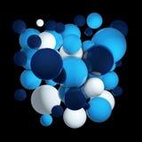 Groep gekleurde 3d gebieden Vliegende gebieden, abstracte bellen Blauwe ballen, die om orbs worden geïsoleerd 3D Illustratie royalty-vrije illustratie