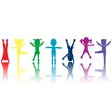 Groep gekleurde jonge geitjessilhouetten Stock Foto's