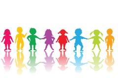 Groep gekleurde kinderen royalty-vrije illustratie