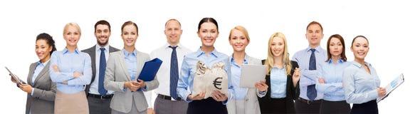 Groep gelukkig zakenlui met geldzakken Royalty-vrije Stock Afbeelding