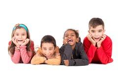 Groep gelukkige jonge geitjes royalty-vrije stock fotografie