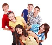 Groep gelukkige jonge mensen. Stock Foto