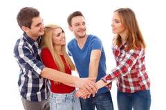 Groep gelukkige jonge mensen Stock Afbeeldingen